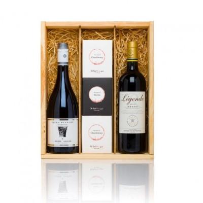 Luxus-Weinkiste Duo Merlot & Chardonnay + Gratisgeschenk