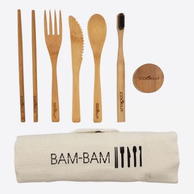 Wiederverwendbares Essbesteck mit Zahnbürste und Zahnpasta Bam Bam   Bamboo
