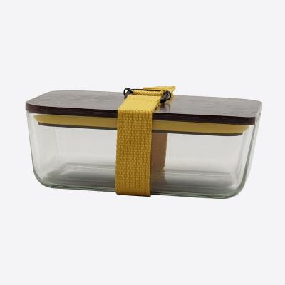 Lunchbox mit elastischem Band und Deckel aus Glas und Bambus   Gelb