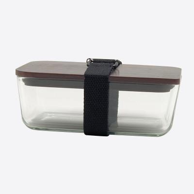 Lunchbox mit elastischem Band und Deckel aus Glas und Bambus   Schwarz