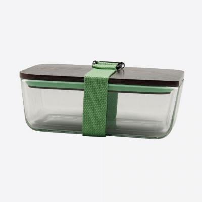 Lunchbox mit elastischem Band und Deckel aus Glas und Bambus   Grün