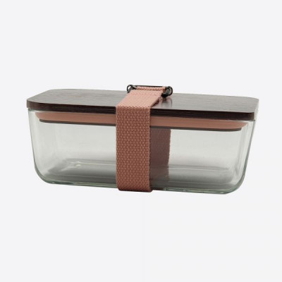 Lunchbox mit elastischem Band und Deckel aus Glas und Bambus   Rosa