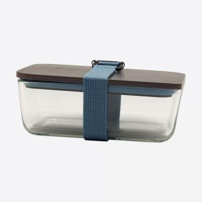 Lunchbox mit elastischem Band und Deckel aus Glas und Bambus   Hellblau