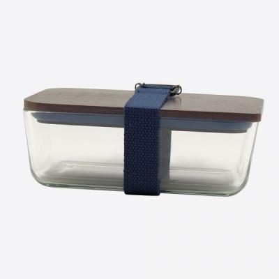 Lunchbox mit elastischem Band und Deckel aus Glas und Bambus   Dunkelblau
