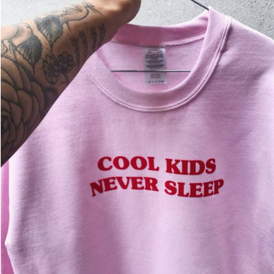 Cool Kids Never Sleep Sweater | Pink / Red Text