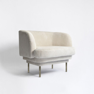 Armchair CORNICE | Beige Velvet Brass Legs