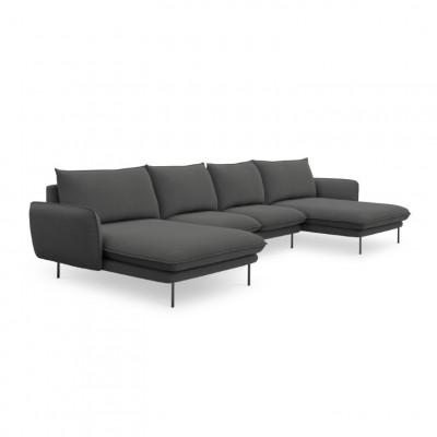 Sofa VIENNA   6 Sitze   Dunkel Grau