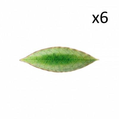 Lorbeerblatt-Tablett Riviera 6er-Set | Tomatengrün