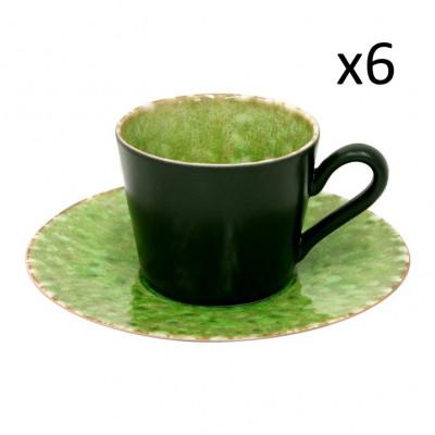 Tasse & Untertasse Riviera 6er-Set | Tomatengrün