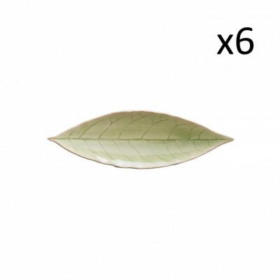 Lorbeerblatt-Tablett Riviera 6er-Set | Frisches Grün