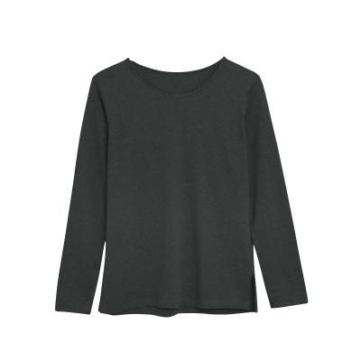 Langärmeliges T-Shirt Baumwolle   Dunkelgrau