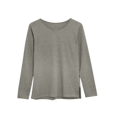 Langärmeliges T-Shirt Baumwolle   Hellgrau