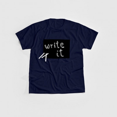 """Cotton Twitter"" Writable T-shirt Children   Navy"
