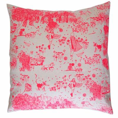 Pinkes Toile de Jouy-Kissen   Quadrat