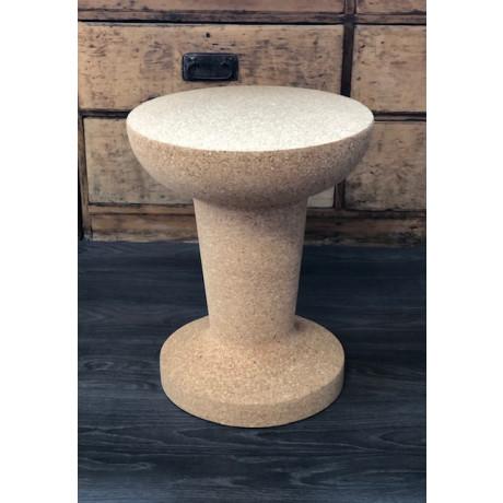 Cork Side Table Vintage Champagne Flute-Raw cork finish