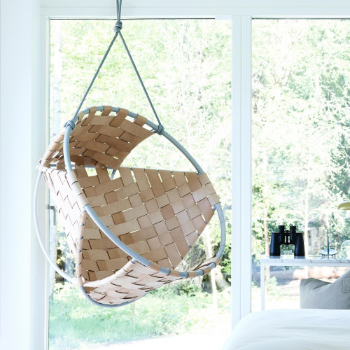 Cocoon Hang Chair   Leather   Beige
