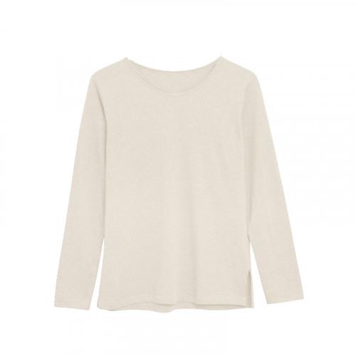 Langärmeliges T-Shirt Baumwolle | Beige Organic