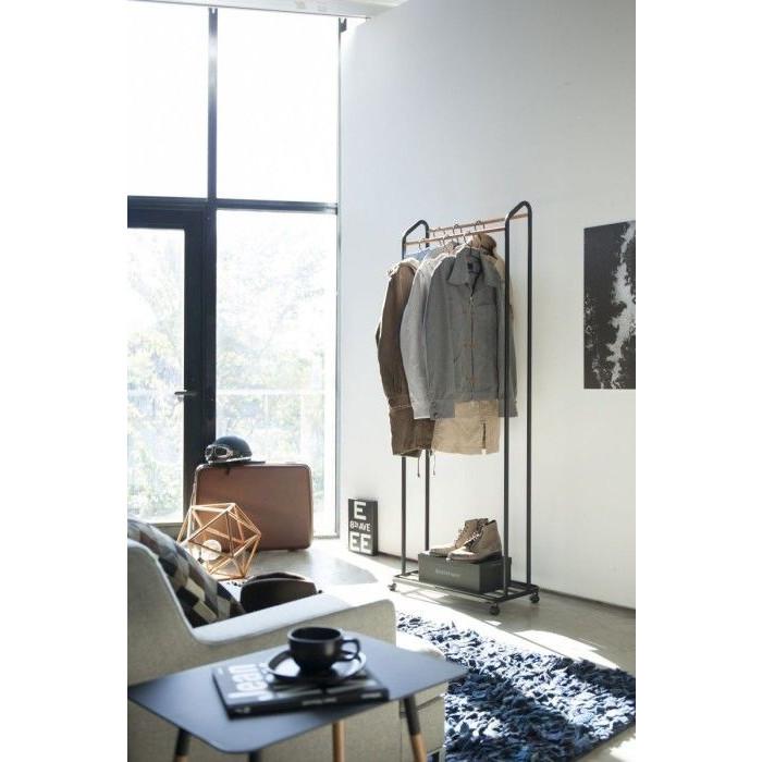 Fahrbarer Garderobenständer Tower   Schwarz