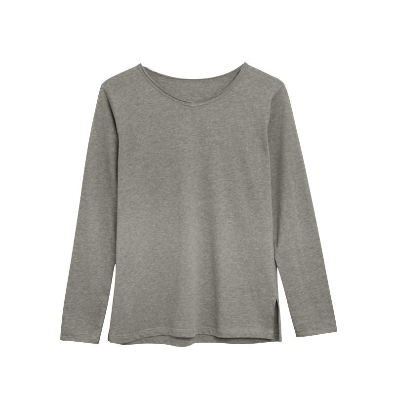 Langärmeliges T-Shirt Baumwolle | Hellgrau