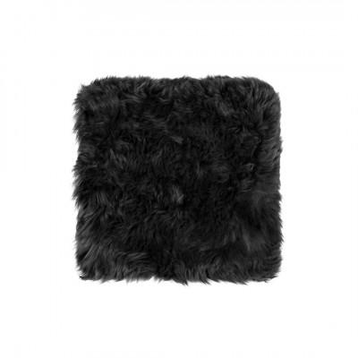 Neuseeländischer Schaffell Stuhl-Kissen Quadrat   Schwarz