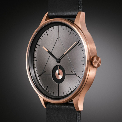 The Architect Analog Watch   PVD Rose Gold, Black Leather Strap