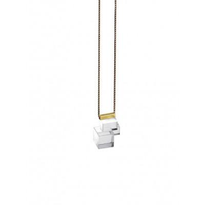 CRYSTALS Necklace 4   Transparent, Gold
