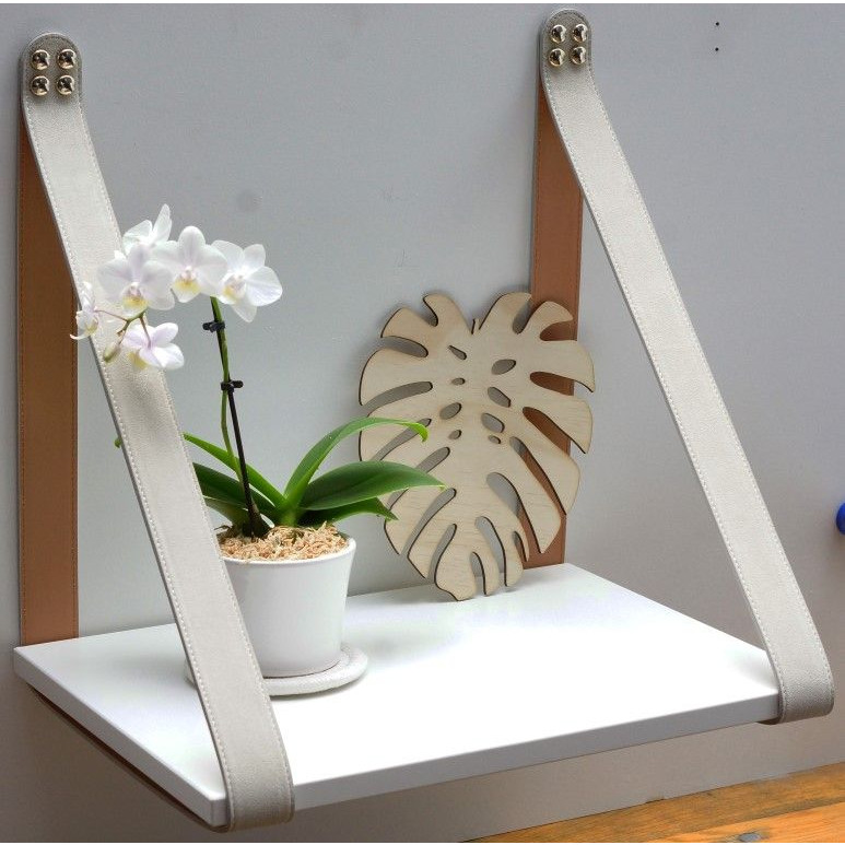 Suede Leather Strap Sidetable Shelf | White + Cream Straps