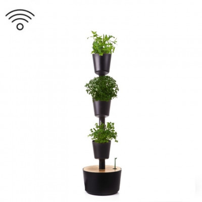 Smart & selbstbewässernd vertikale Kräuter-Pflanzgefäße | Schwarz
