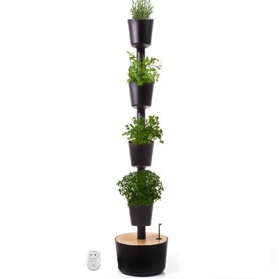 Smart & Selbstbewässernd Vertikale 4 Kräuter-Pflanzgefäße | Black-M