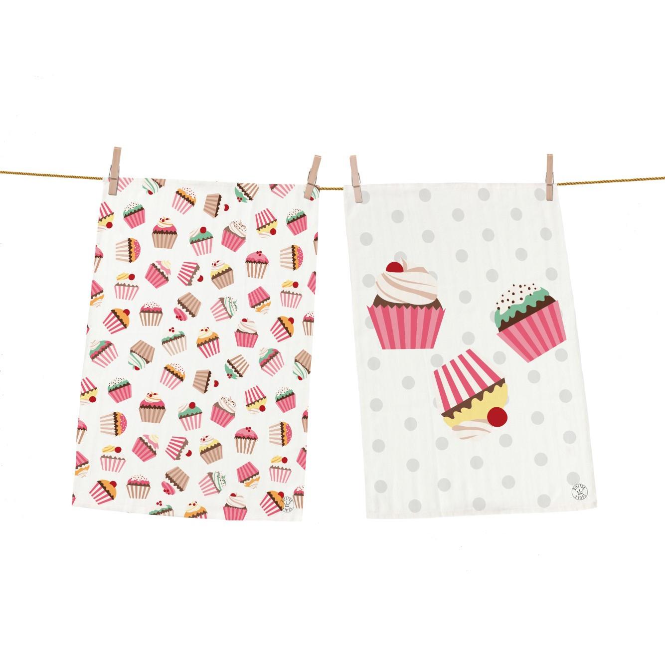 Vaatdoek Yummy Cupcakes Set van 2
