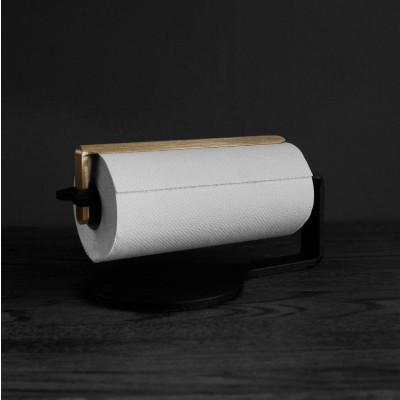 Curve Kitchen Roll Holder | Black & Brass