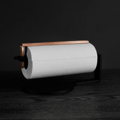 Curve Kitchen Roll Holder | Black & Copper