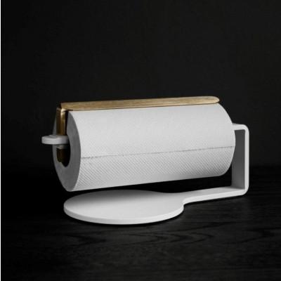 Curve Kitchen Roll Holder | White & Brass