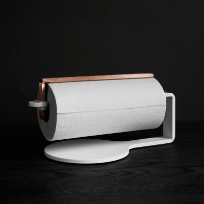 Curve Kitchen Roll Holder | White & Copper