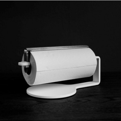 Curve Kitchen Roll Holder | White & Stainless Steel