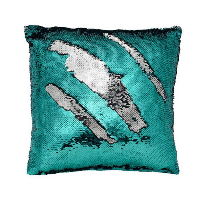Mermaid Sequin Pillow Cover   Teal/Silver