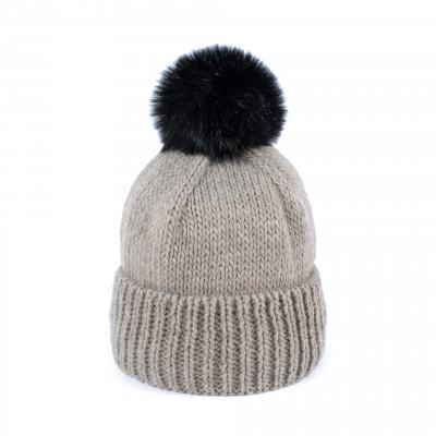 Mütze mit Pompom | Beige
