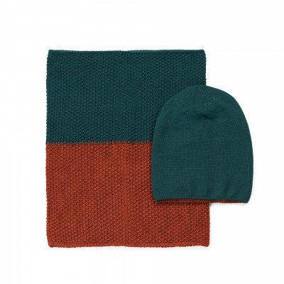 Mütze und Schal | Grün & Orange