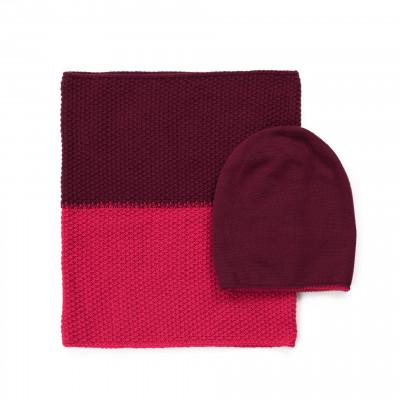 Mütze und Schal | Rosa & Rot
