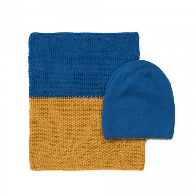 Mütze und Schal | Blau & Gelb