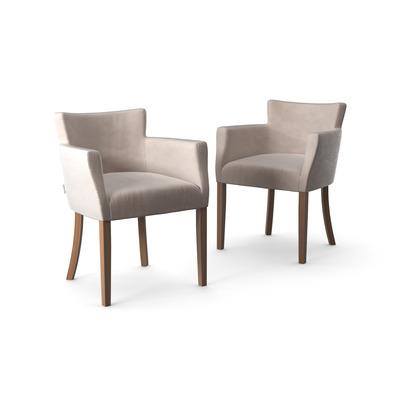 2-er Set Stühle Santal Samt Touch | Braune Beine & Creme