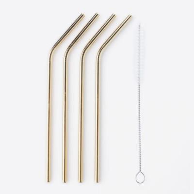 Strohhalme aus Edelstahl mit Reinigungsbürste 4er-Set | Gold