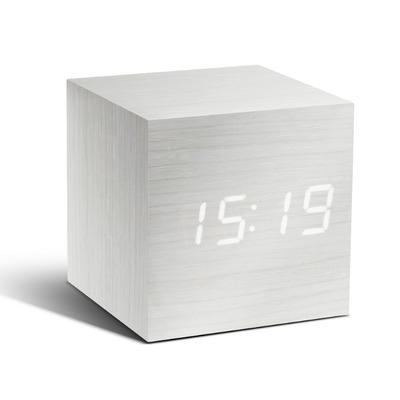 Würfel-Klick-Uhr aus Holz   Weiß und Weiße LED