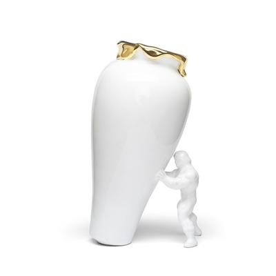 Vase My Superhero I Weiß-Gold