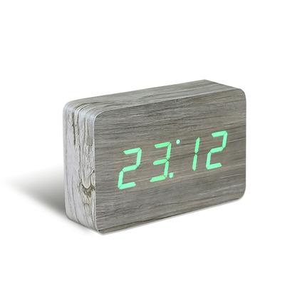 Brick Klick-Uhr   Esche und Grüne LED