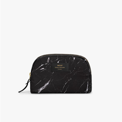 Schminktasche Groß | Schwarze Marmor