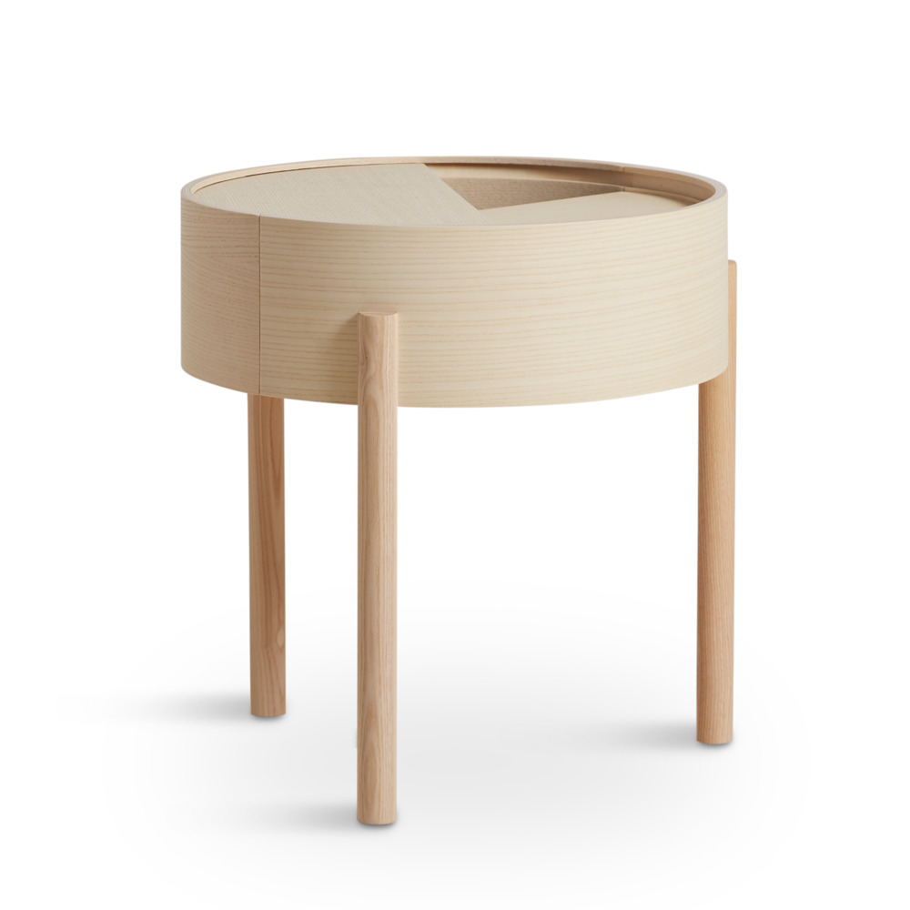 Side Table Arc | White Pigmented Ash Wood Small