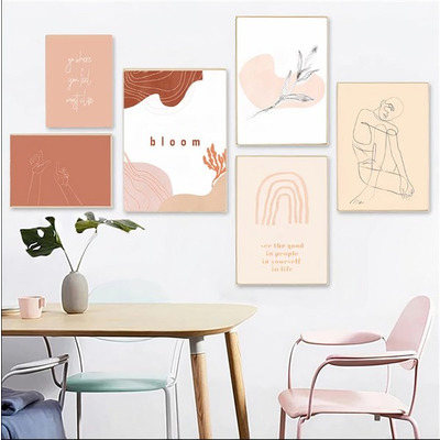 6er-Set Wandkunst Kunst-Regenbogen TS210   Mehrfarbig