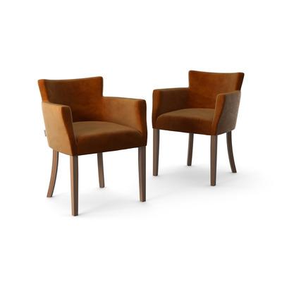 2-er Set Stühle Santal Samt Touch | Braune Beine & Senf