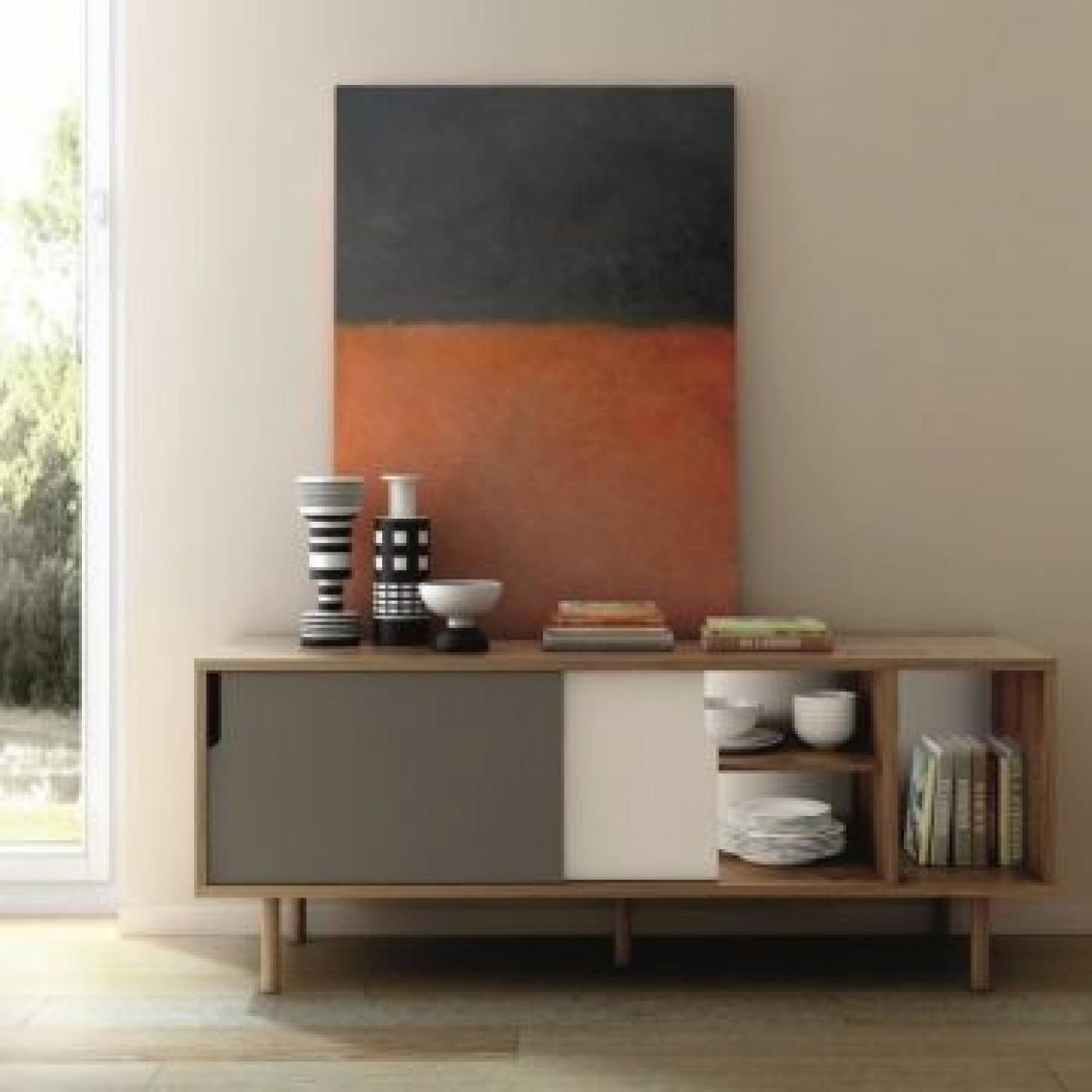 Sideboard Dann   Oak/White & Grey